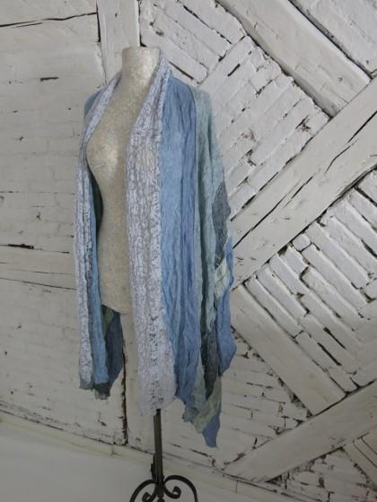 """Schal """" Patch- himmelblau"""
